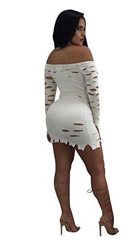 Shoulder Holes Women White Dress s Dreamparis Off Knit Sexy Mini Bodycon Ripped dPI6wdcYWq