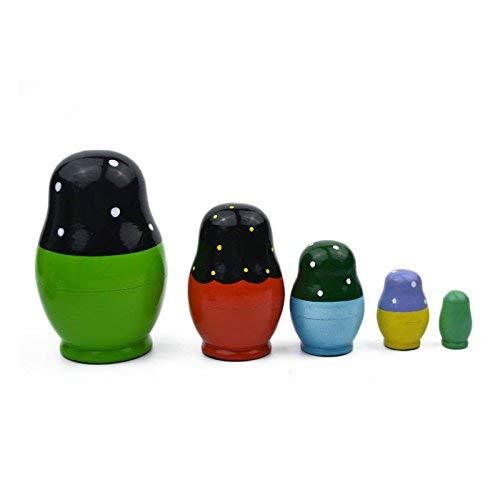 Lanceasy 5 Couches Poup/ées Russes en Bois Color/é Peint /à la Main Matryoshka Poup/ée Mignon Nesting Jouet Fait Main Artisanat Enfants Jouets