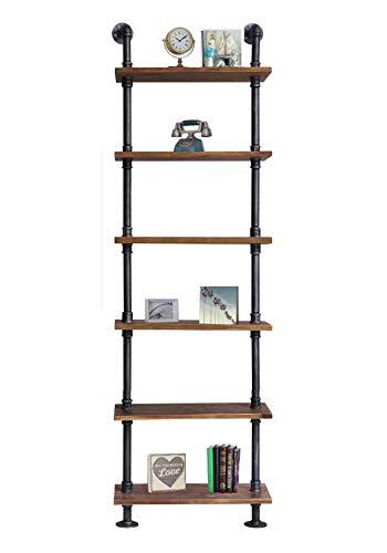 Diwhy Industrial Rustic Modern Wood Ladder Pipe Wall Shelf 6 Layer Pipe Design Bookshelf DIY Shelving