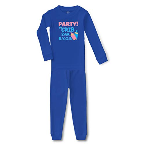 Party! My Crib 2Am B.Y.O.B Cotton Crewneck Boys-Girls Infant Long Sleeve Sleepwear Pajama 2 Pcs Set Top and Pant - Royal Blue, 5/6T -