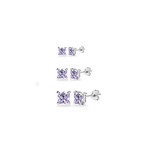 3-Pair Set Sterling Silver Amethyst Princess-Cut Square Stud Earrings, 3mm 4mm 5mm