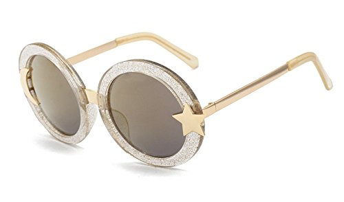 Nuni Women's Glitter Shell-effect Acetate Moon Star Accent Round Sunglasses (gold, - Sunglasses Moon Sun And