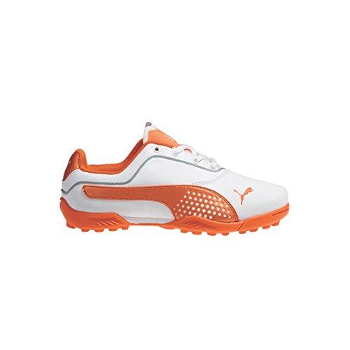 PUMA Golf Unisex Titantour Jr. (Little Kid/Big Kid) White/Vibrant Orange Sneaker 5 Big Kid M