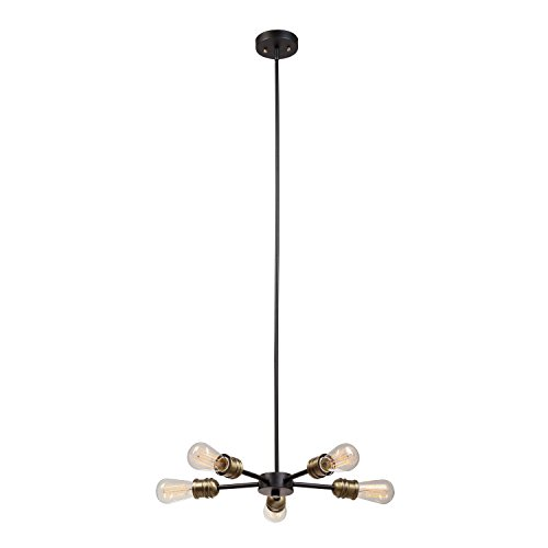 Globe Electric 65834 Beaugard 5-Light Chandelier, Black with Antique Brass Sockets - Chandelier Five Light Brass Antique