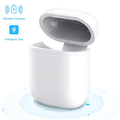 Airpods Wireless Charging Case, Maxcio Airpods Case Protector Cover/Skin/Accessory Qi Standard for Apple Airpods Compatible with All QI Wireless Charger (White)