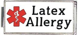 - Latex Allergy White Medical Alert Italian Charm Superlink Bracelet Jewelry Link