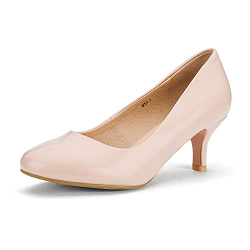 Round Pumps Shoes - IDIFU Women's RO2 Basic Round Toe Mid Heel Pump Shoes (Nude Patent, 6 B(M) US)