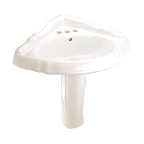 Read About Bone Corner Pedestal Sink Grade A Vitreous China Space Saver 4 Centerset Or Single Hole ...