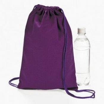 Purple Canvas Drawstring Backpacks Dozen