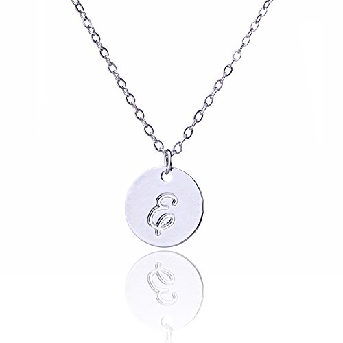 AOLO Round Handwritting Initial Disc Necklace Font E