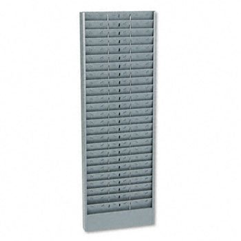 Adjustable 24-, 48- Or 72-Pocket Time Card Rack, Textured Steel, Gray