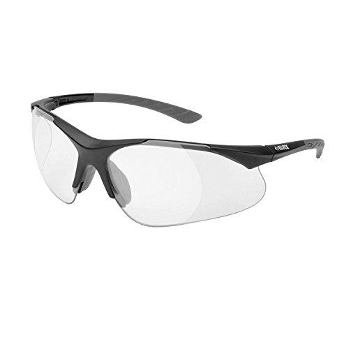 Elvex 500C 2.5 Diopter Full Lens Magnifier Safety Glasses, Black Frame/Clear Lens