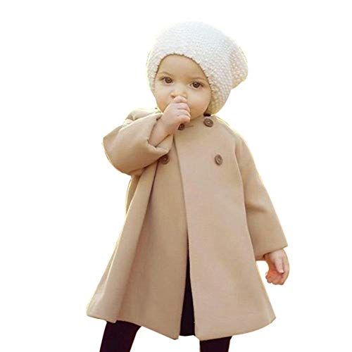 0-5T Autumn Winter Kids Baby Girls Solid Outwear Cloak Cape Button Jacket Warm Fashion Woolen Coat Trench Clothes (Khaki, 4T(3-4 Years))