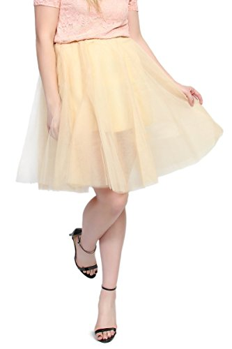 TheMogan Women's A-Line Flared Short Tutu Tulle Prom Party Skirt Nude 3XL