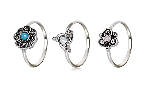 (PIERCE ME (3pcs) Ornate Swirl,Aqua Flower and Pink Ornate Flower Design Nose Hoop/Cartilage Earrings 20GA 5/16