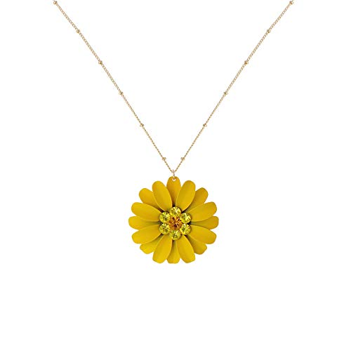 Rosemarie Collections Women's Sunshine Yellow Daisy Flower Pendant Necklace (Necklace Only)