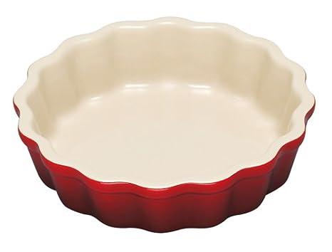 Le Creuset - Set de 4 platos de gres de 11 cm, para tartaletas, color cereza: Amazon.es: Hogar