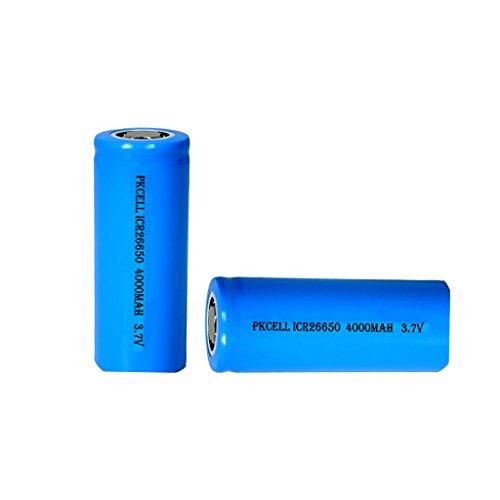 Rechargeable li-ion 3.7V battery icr26650 4000mAH Count:Pcs (2)