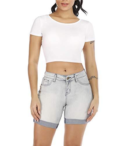 Distressed Spandex Shorts - POPTIME Women's Mid Waist Elastic Denim Short Jeans for Plus (11, Grey)