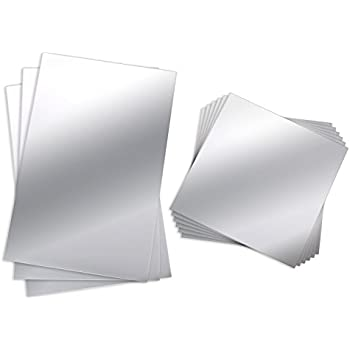 BBTO 9 Pieces Mirror Sheets Flexible Non Glass Mirror Plastic Mirror Self Adhesive Tiles Mirror Wall Stickers, 6 Inch by 6 Inch and 6 Inch by 9 Inch