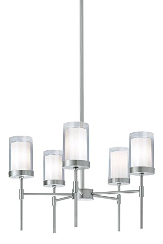 Norwell Lighting 8971-BN-CL Kimberly - Five Light Pendant, Brushed Nickel Finish with Clear/White Glass (Kimberly White Finish)