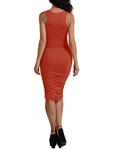 J. J. Lovny Womens Sexy Side Ruched Midi Dress With Sleeveless Made In Usa Jlwdr91-lightmauve Lovny Côté Sexy Des Femmes De Ruché Robe Sans Manches Midi Avec Made In Usa Jlwdr91-lightmauve