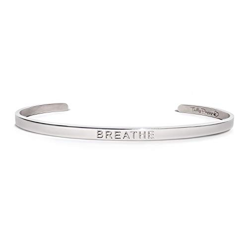 Tally Puppy Mantra Bangle Cuff Bracelet Engraved - Breathe - Inspirational Gifts Silver Color Or Rose Gold Teen