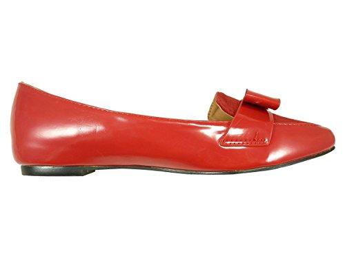 Mokassins Damen Spitz und Schleife Bi Material lackiert Rot