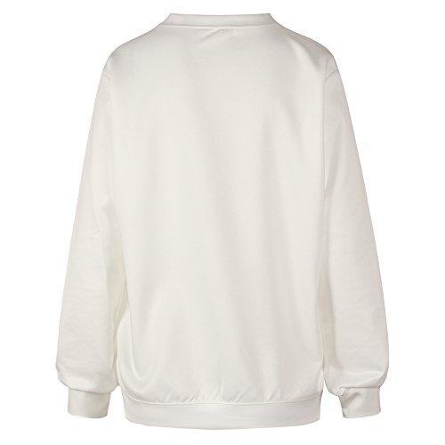 Camiseta de ocio para mujeres YICHUN sudaderas delgadas Tops impresos Pullovers suéter casual blusa jerséis Emoji White 20#