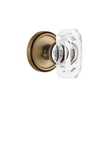 Grandeur 828236 Georgetown Rosette Double Dummy with Baguette Crystal Knob in Vintage Brass