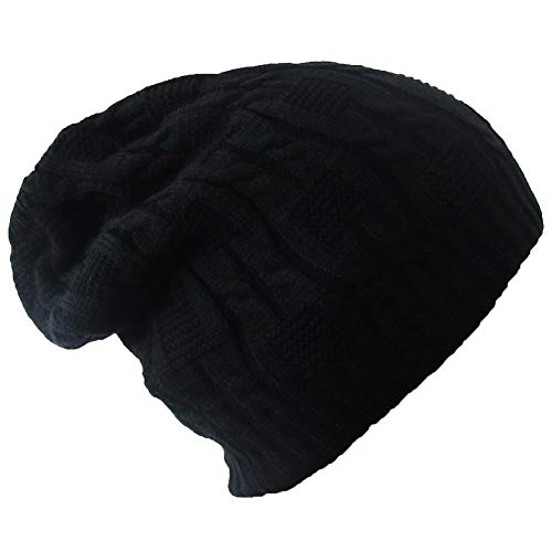 Merryshop Slouchy Long Beanie Knit Hat Cap for Winter Oversize (Black)