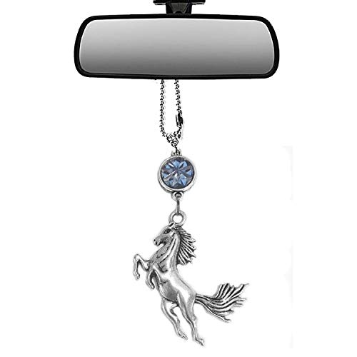 Mossy Cabin Handmade Bling Assorted Mirror Car Charm Hanger Dream Catcher Ornament with Adjustable Chain (Horse)