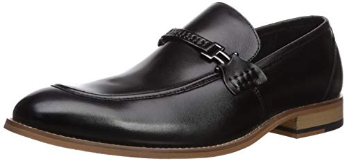 Stacy Adams Men's Duval Moc-Toe Slip-On Penny Loafer Black 9 W US Black Leather Penny Strap Loafers