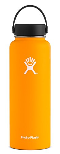 Hydro Flask 40 oz Double Wall Vacuum Insulated Stainless Steel Leak Proof Sports Water Bottle, Wide Mouth with BPA Free Flex Cap, Mango