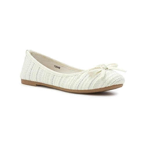 Lilley Womens White Bow White Knitted Effect Ballerina HHnrUfFW