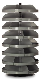 Durham - 1308-95 - 65-1/2 Steel Revolving Storage Bin with 500 lb. Load Cap. per Shelf, Gray