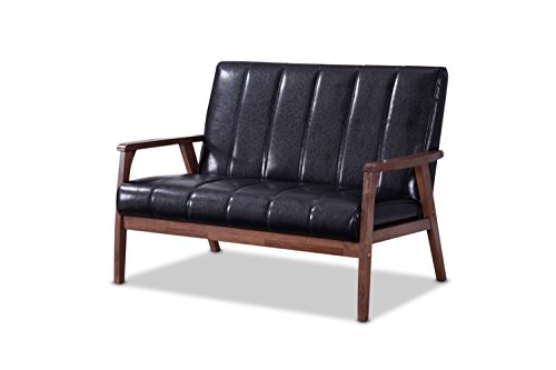 Two Seat Lounge Bench - Baxton Furniture Studios Nikko Mid-Century Modern Scandinavian Style Faux Leather Wooden 2 Seater Loveseat, Black