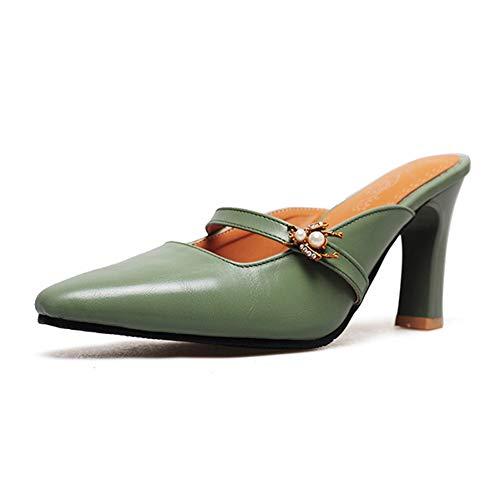 Zapato Shoes Mujer De Libre Sandalias Zapatos Tacón Green Perlas Talón Grueso Pingxiannv Punta Zapatillas Diapositivas Estrecha Aire Al Verano Alto Mulas UEfqZRxw