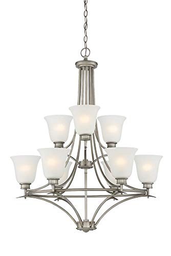 (Designers Fountain 96989-MTP Montego 9 Light Chandelier, 35.75