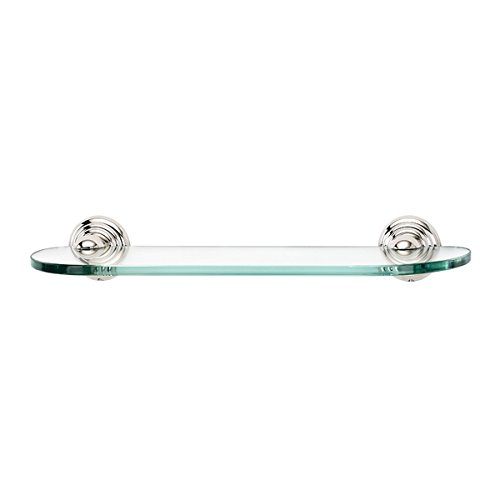 Alno A9050-18-PN Embassy Traditional Glass Shelf with Brackets, Polished Nickel