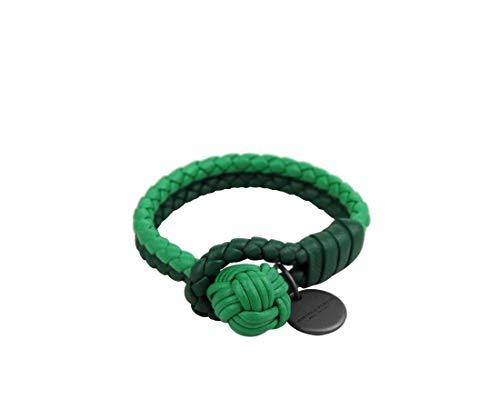 Bottega Veneta Women's Green/Light Green Leather Braided Bracelet 113546 3284