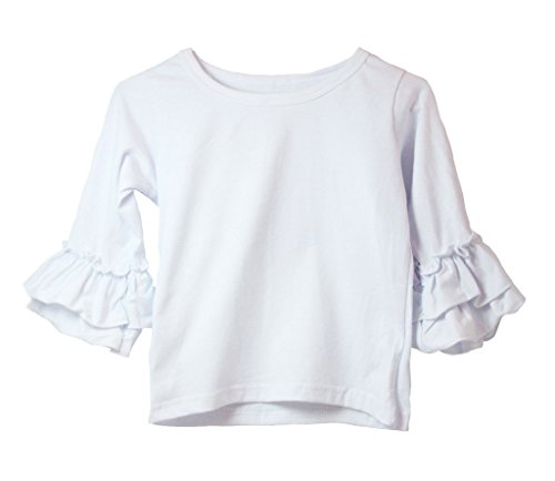 Little Girls Top with Ruffle Sleeve - WHITE (Tiered Ruffle Top)