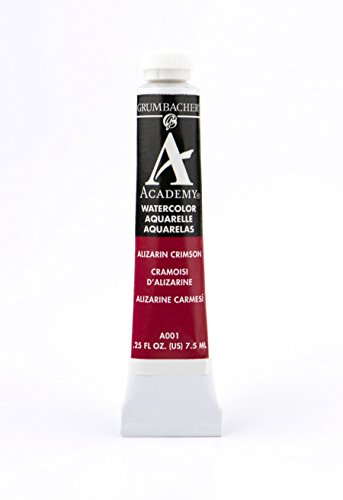 Grumbacher Academy Watercolor Paint, 7.5ml/0.25 Ounce, Alizarin Crimson (A001)
