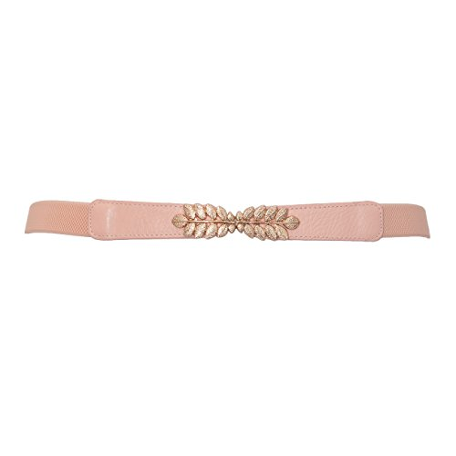 eVogues Plus size Leaf Interlocking Buckle Elastic Belt Pink - One Size - Size Size Waist Belt