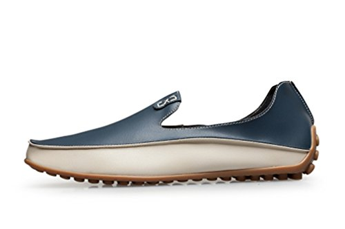 Sparco Products Leather - Termee Men Leather Loafers Driving Shoes Soft & Massage Outsole Slip-On Flats Blue 9.5
