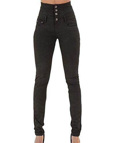 Mujer De Pitillo Adelina Para Delanteros Pecho Jeans Liso Schwarz Acogedor Pantalones Color Alta Ropa Lápiz Bolsillos Cintura Solo Un pwICq4x