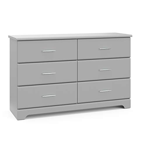 Stork Craft Storkcraft Brookside 6 Drawer Dresser, Kids Bedroom Dresser with 6 Drawers, Wood & Composite Construction, Ideal for Nursery Toddlers Room Kids Room, Pebble Gray
