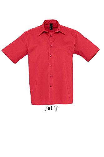 SOLS Kurzarm Hemd Berkeley Herren Hemd Übergröße bis 4XL NEU M,Flamenco Red