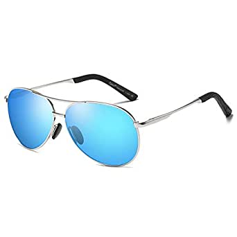Cyxus Aviator Polarized Classic Fashion Spring Hinges Sunglasses 100% UV Protection Mirrored Flat Lens Sun Glasses Blue Lenses Silver Frame