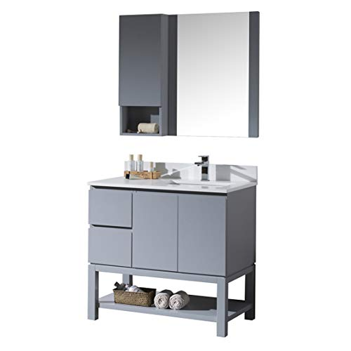 """Blossom Monaco 36"""" Inches Solid Wood Single Bathroom Vanity, White Quartz Countertop, Undermount Ceramic Sink Right with Mirror and Wall Cabinet Metal Grey 000 36 15R"""